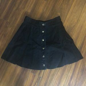 Black button-up faux suede skirt